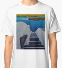 Upstairs Downstairs to Santorini Caldera Classic T-Shirt
