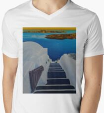 Upstairs Downstairs to Santorini Caldera Mens V-Neck T-Shirt