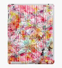 Vinilo o funda para iPad Vintage colorful watercolor floral stripes pattern