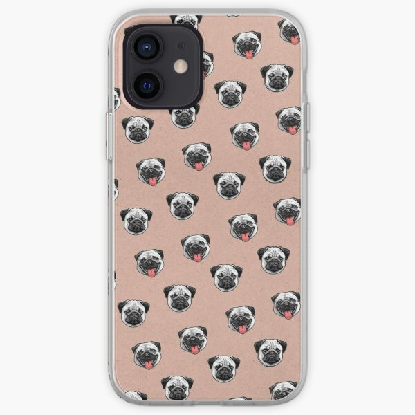 Cute Pug tongue hipster pattern pink iPhone Soft Case