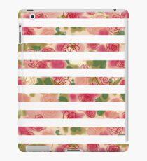 Vinilo o funda para iPad Vintage pink watercolor floral stripes pattern