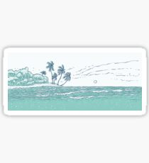 Beach with palm, ocean waves surf. Tropical island. Sticker