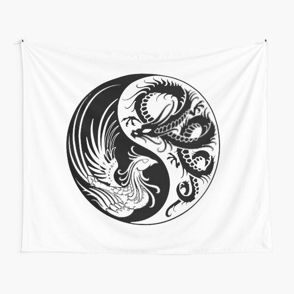Dragon Phoenix ying yang  Tapestry