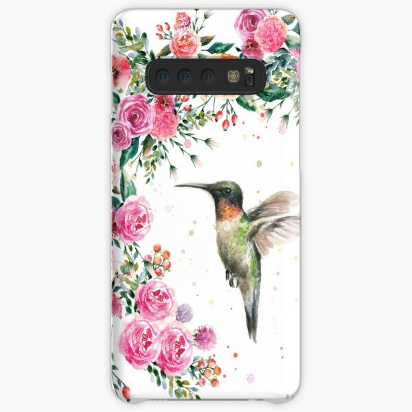 Hummingbird and Flowers Watercolor Samsung Galaxy Snap Case