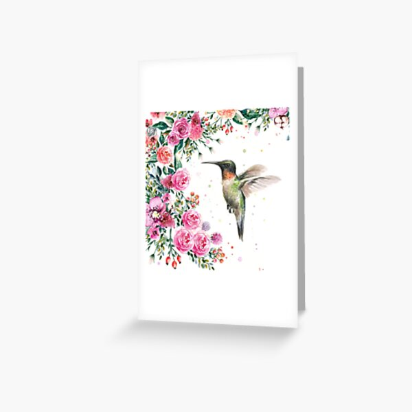 Hummingbird and Flowers Watercolor Greeting Card
