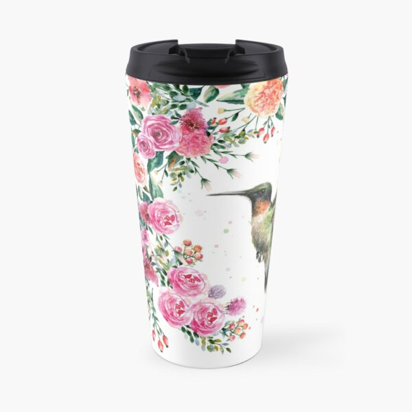 Hummingbird and Flowers Watercolor Travel Mug