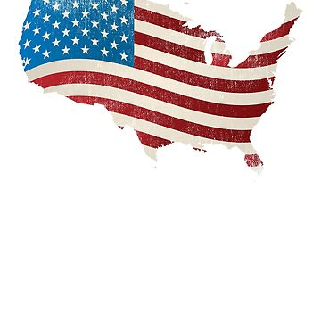 American Flag | Vintage USA | United States Outline by ETIndustries