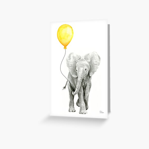 Elephant Baby Watercolor with Yellow Balloon Greeting Card
