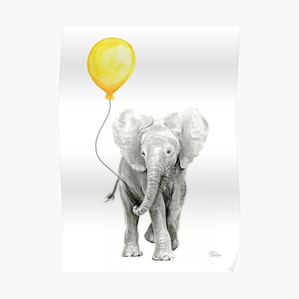 ELEPHANT Floating Balloons ANIMAL ART PRINT POSTER Vintage Illustration Circus