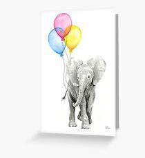 Baby Elephant Nursery Animal Art Watercolor Greeting Card