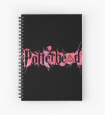 Potterheads and hp hallows with splashes outline (pink watercolors true) - wand, cloak, stone Spiral Notebook