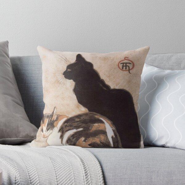 Watercolor - 2 Cats - Théophile Alexandre Steinlen Throw Pillow