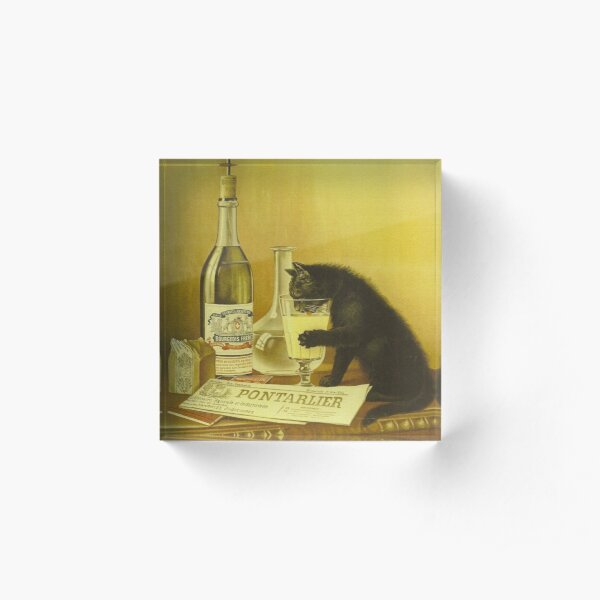 """Vintage Retro French Poster """"Absinthe Bourgeois"""" Black Cat Acrylic Block"""