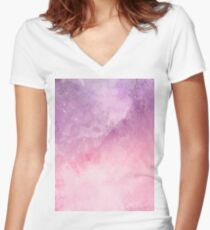 Abstract Multi Color  Women's Fitted V-Neck T-Shirt