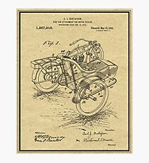 Patent Print Motorcycle Sidecar 1918 Wall Art Photographic Print