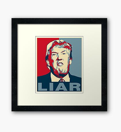 Trump Liar Poster T-shirt Framed Print