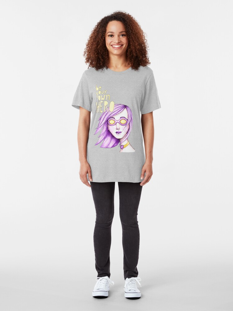 Alternate view of Be Your Own Hero - Purple Version Slim Fit T-Shirt
