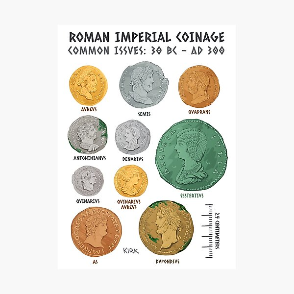 Roman Imperial Coin Chart Photographic Print