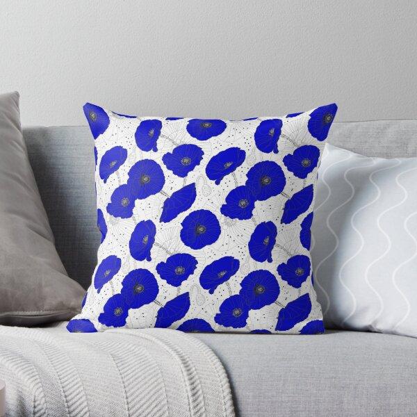 Cobalt Blue Poppy Field Of Flowers Throw Pillow