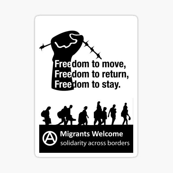 Bienvenidos los migrantes - Solidaridad en todos los internos Pegatina