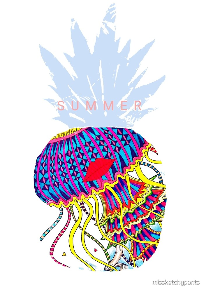 Summer Vibing - Colorful Jellyfish Pineapple by missketchypants