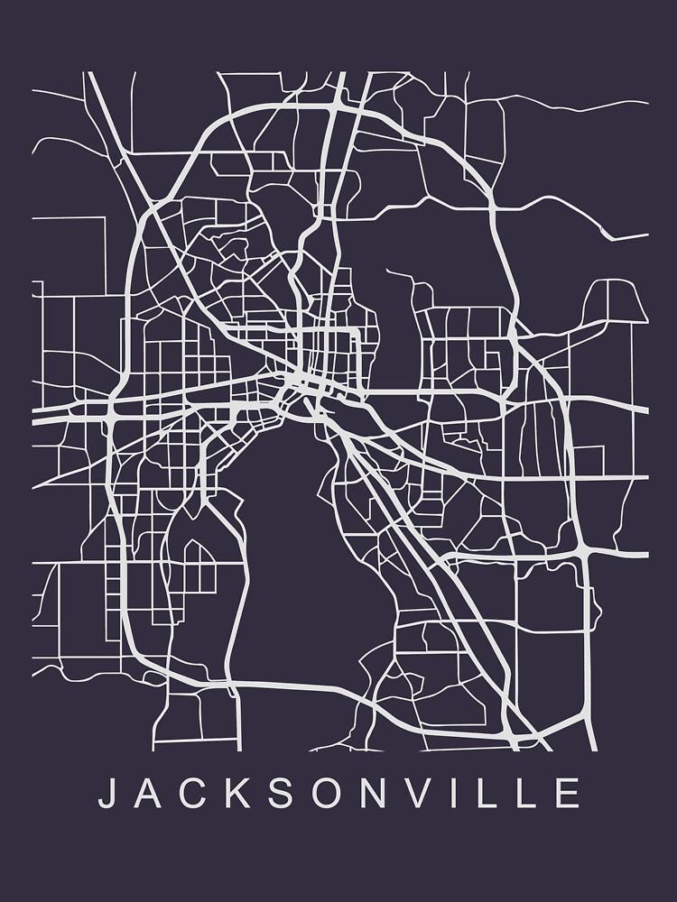 Jacksonville FL Minimalist City Street Map Light Design by Andrewkgolf