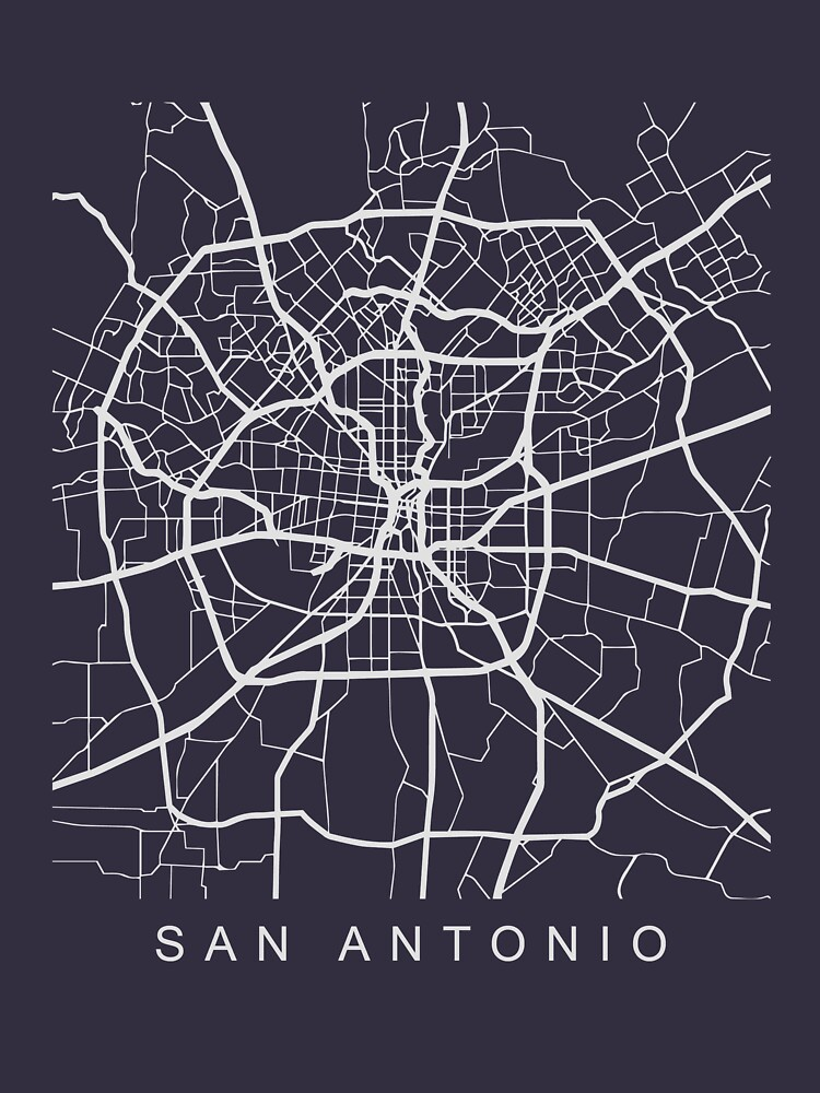 San Antonio TX Minimalist City Street Map Light Design by Andrewkgolf