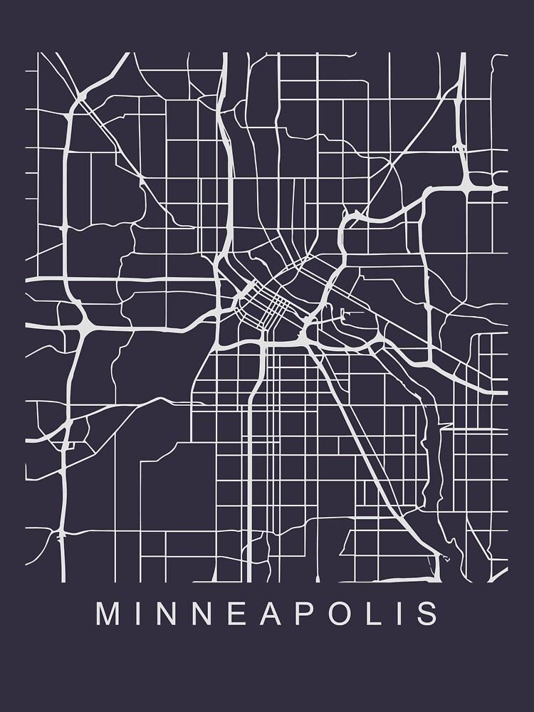Minneapolis Minimalist City Street Map Light Design by Andrewkgolf