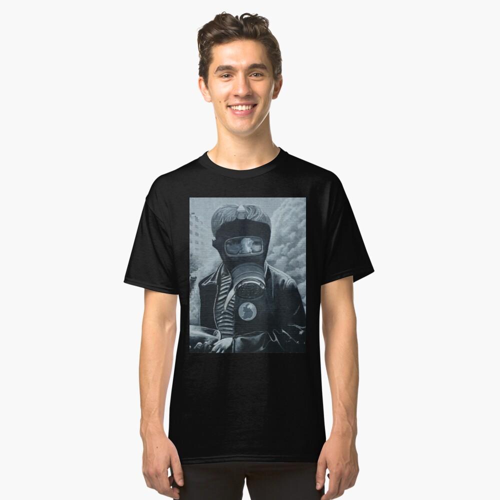 Post-Apocalypse Graffiti- Boy with Gas Mask Classic T-Shirt Front