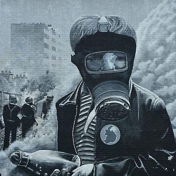 Post-Apocalypse Graffiti- Boy with Gas Mask by alabafruit