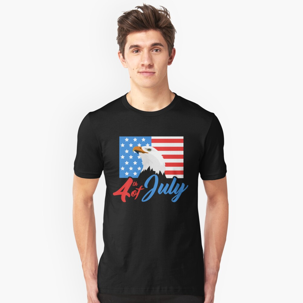 USA Flag Bald Eagle - American Flag 4th Of July Unisex T-Shirt Front