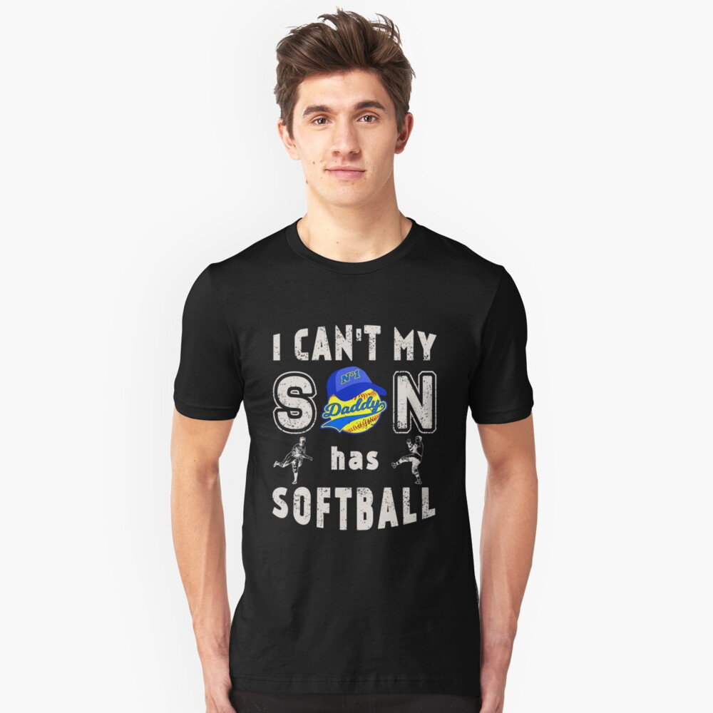 Softball Father Fathers Day Men Daddy Dad Unisex T-Shirt Front