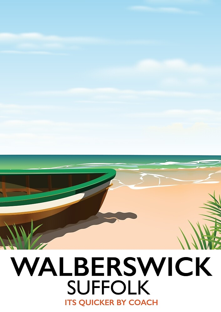 Walberswick Suffolk travel poster by vectorwebstore