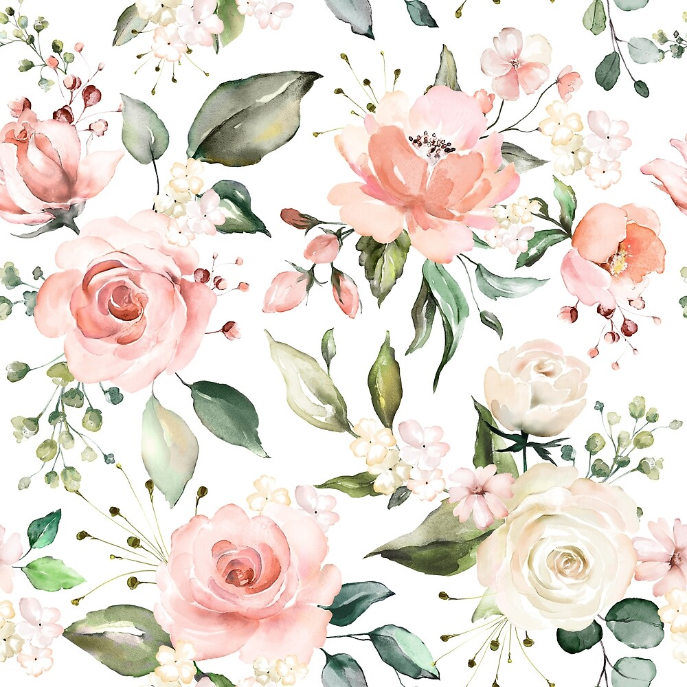 Sunny Floral Pastel Pink Watercolor Flowers by junkydotcom