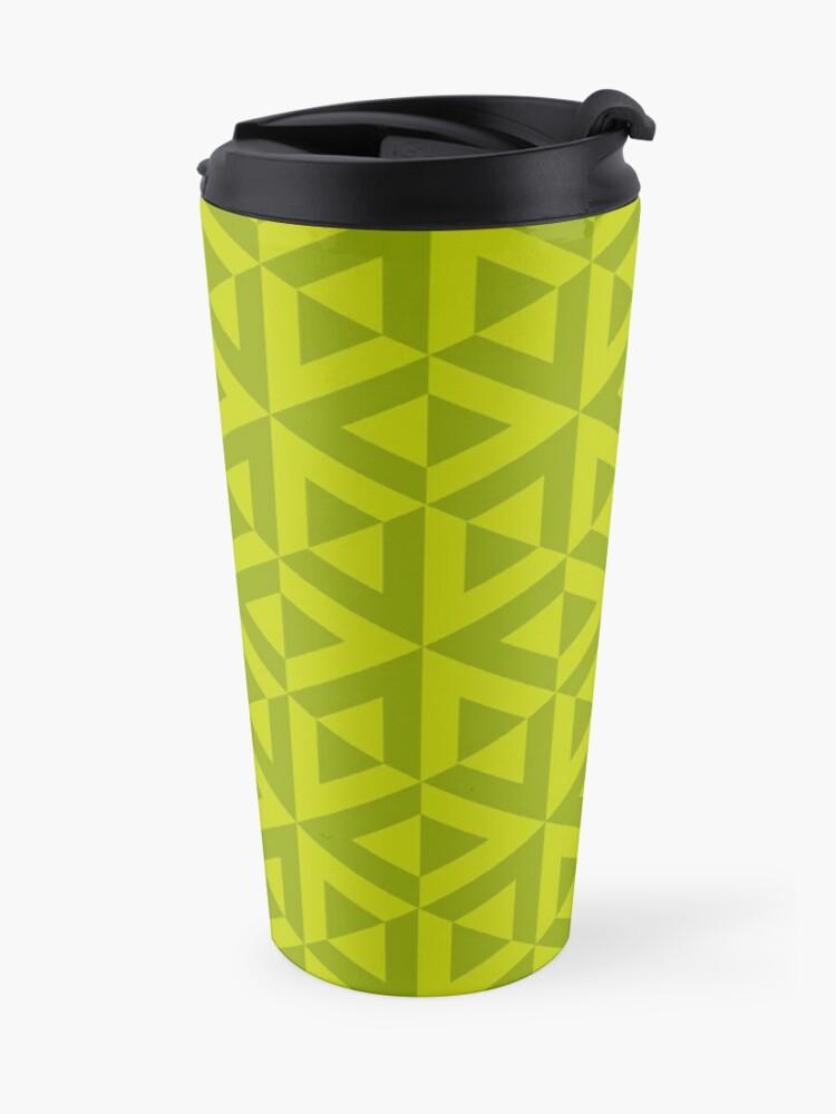 Alternate view of Geometric Pattern: Cube Split: Green Travel Mug