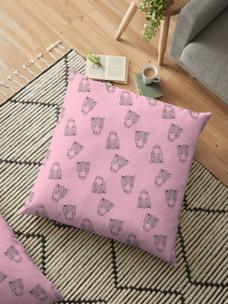 Cool Leopard Head Print Design on a pink background, looks great on a variety of products! by andreirose