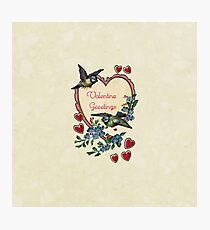 Vintage Birds Red Hearts Floral Love Valentines Photographic Print