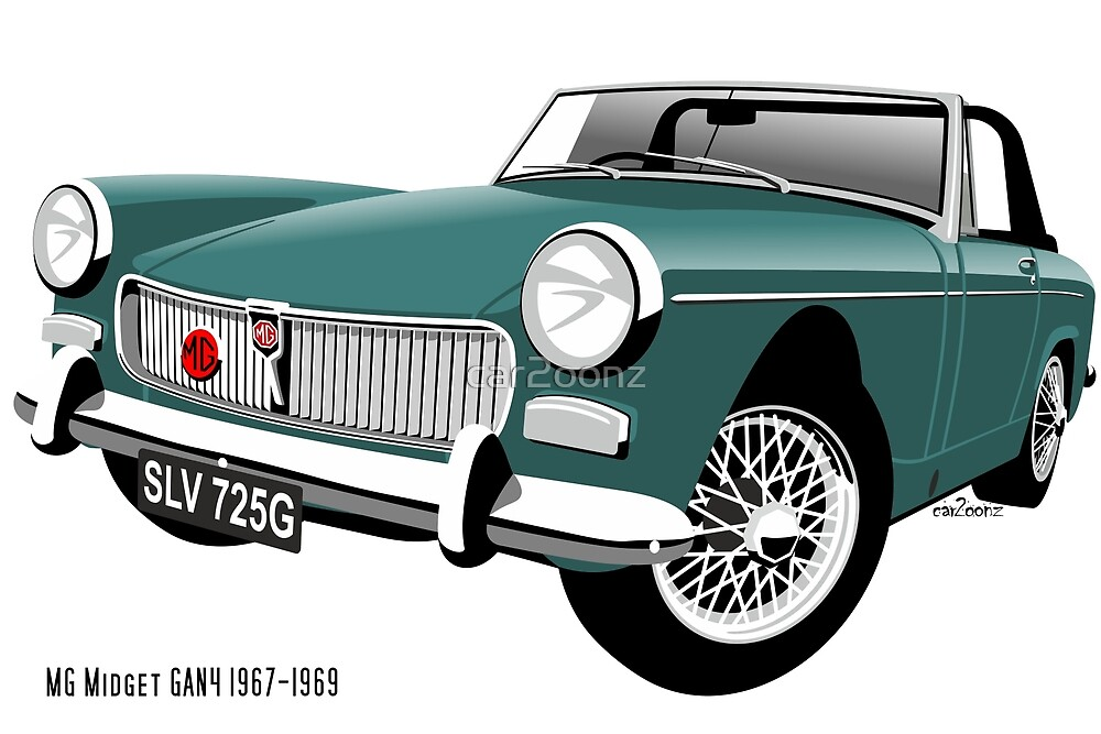 MG Midget Mark 3 personalized for Alex by car2oonz