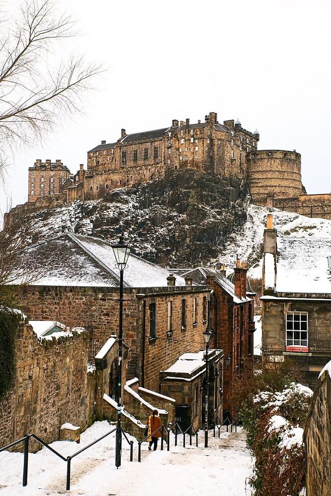 Edinburgh Castle on a snowy day by FoxTalePhoto