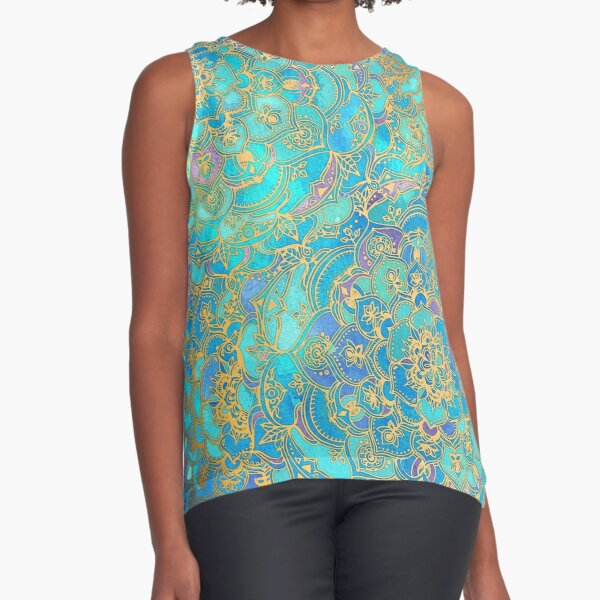 Sapphire & Jade Stained Glass Mandalas Sleeveless Top
