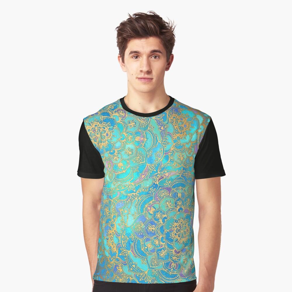 Saphir und Jade Glasmalerei Mandalas Grafik T-Shirt