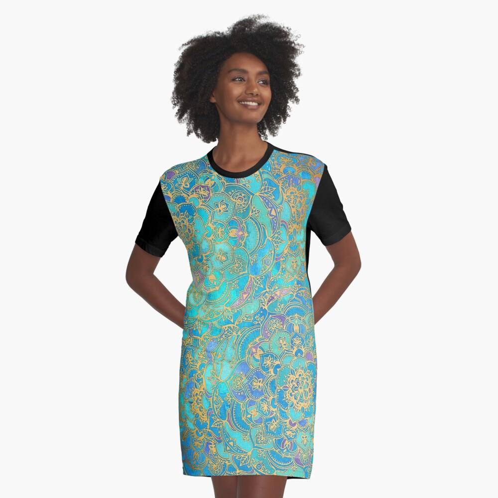 Sapphire & Jade Stained Glass Mandalas Vestido camiseta