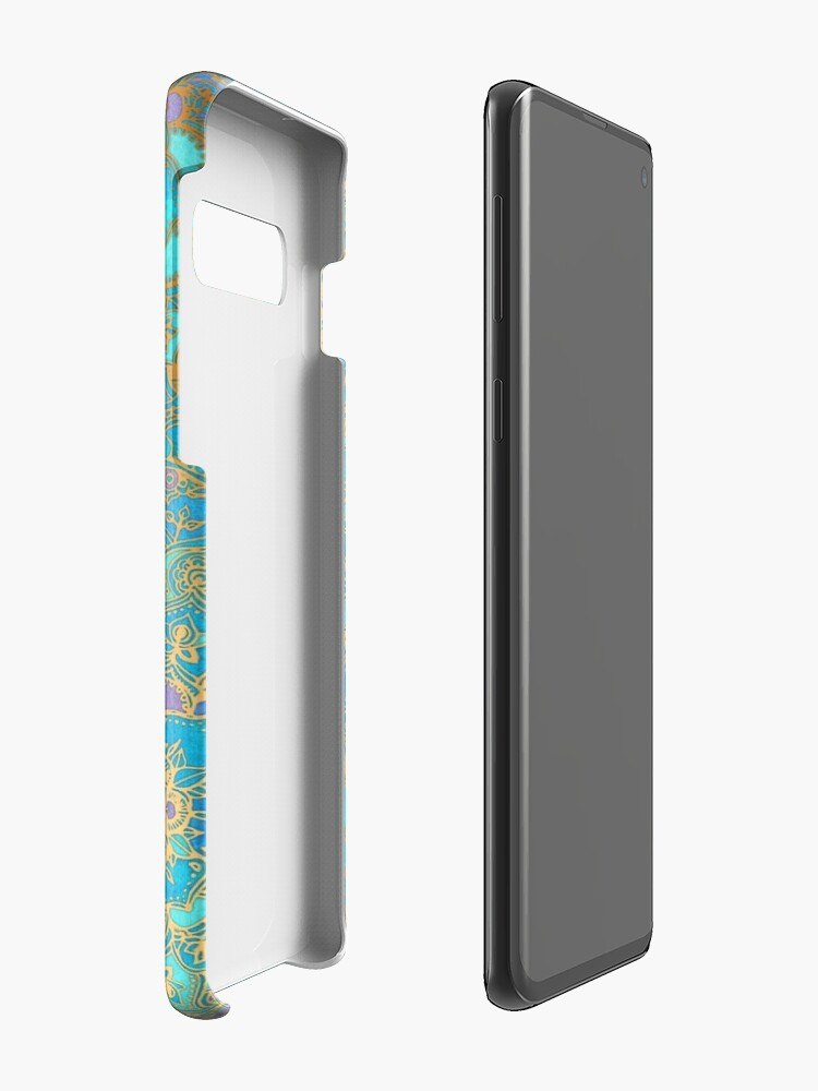 Alternate view of Sapphire & Jade Stained Glass Mandalas Case & Skin for Samsung Galaxy