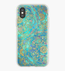 Vinilo o funda para iPhone Sapphire & Jade Stained Glass Mandalas