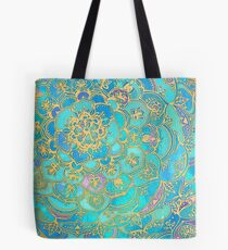 Bolsa de tela Sapphire & Jade Stained Glass Mandalas
