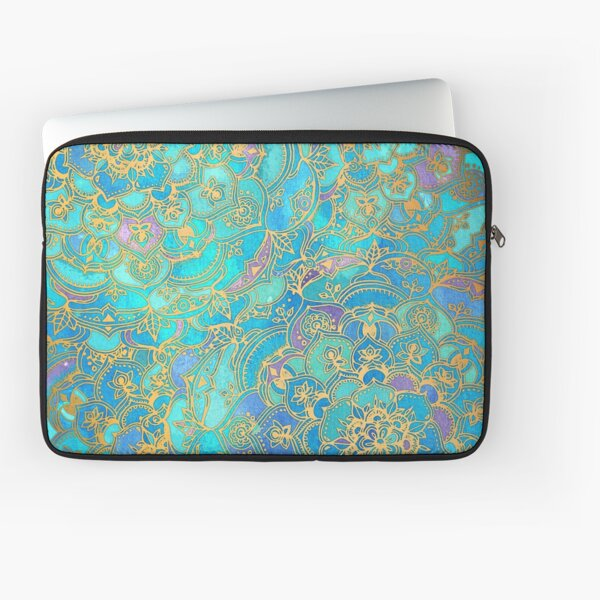 Sapphire & Jade Stained Glass Mandalas Laptop Sleeve
