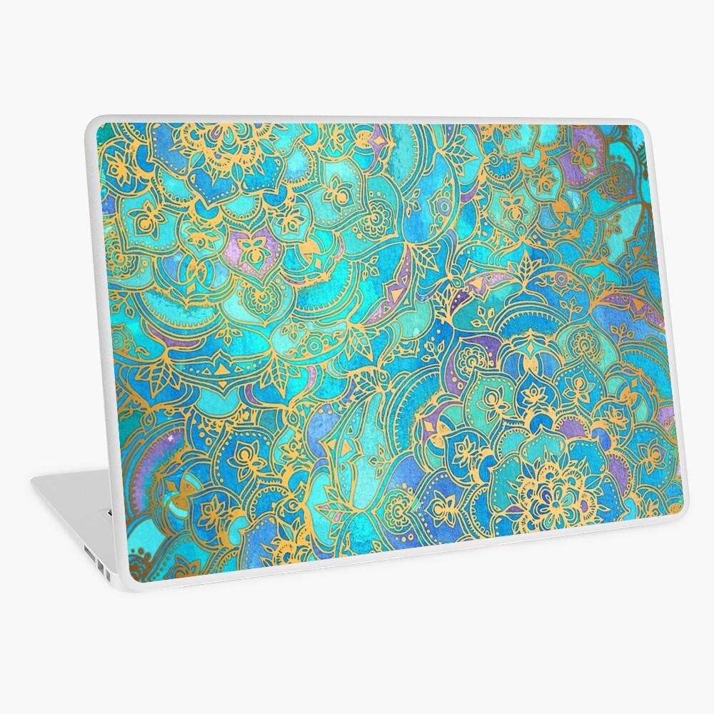 Sapphire & Jade Stained Glass Mandalas Laptop Skin