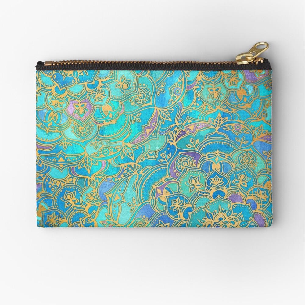Sapphire & Jade Stained Glass Mandalas Zipper Pouch