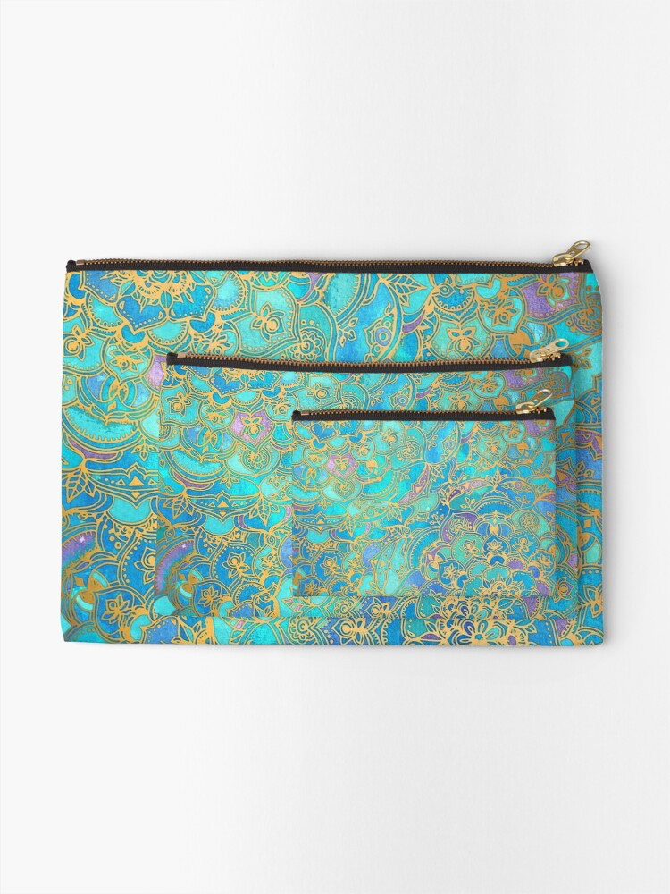 Alternate view of Sapphire & Jade Stained Glass Mandalas Zipper Pouch