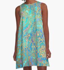 Saphir und Jade Glasmalerei Mandalas A-Linien Kleid